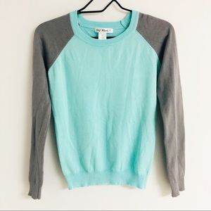 Say What Color Block Ribbed Sweater Blue